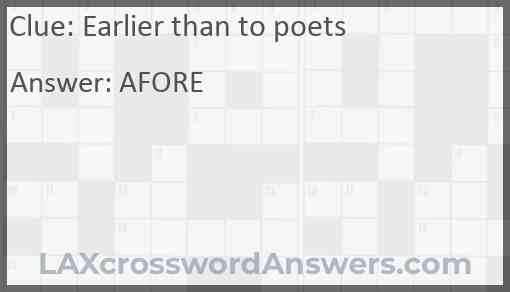Earlier than to poets Answer