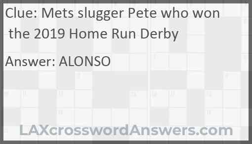 Mets slugger Pete who won the 2019 Home Run Derby Answer